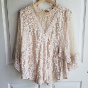 Free People Beige Lace Hard Candy Top Size Medium